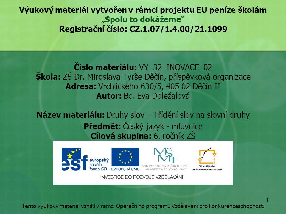 """Výukový materiál vytvořen v rámci projektu EU peníze školám """"Spolu to dokážeme Registrační číslo: CZ.1.07/1.4.00/21.1099 Číslo materiálu: VY_32_INOVACE_02 Škola: ZŠ Dr."""