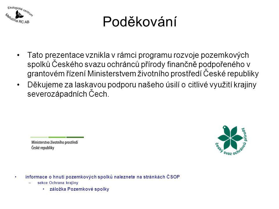 Poděkování Tato prezentace vznikla v rámci programu rozvoje pozemkových spolků Českého svazu ochránců přírody finančně podpořeného v grantovém řízení Ministerstvem životního prostředí České republiky Děkujeme za laskavou podporu našeho úsilí o citlivé využití krajiny severozápadních Čech.