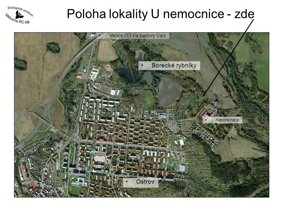 Poloha lokality U nemocnice - zde silnice I/13 na Karlovy Vary Ostrov nemocnice Borecké rybníky
