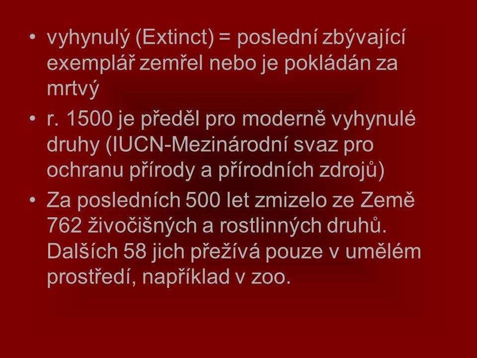 vyhynulý (Extinct) = poslední zbývající exemplář zemřel nebo je pokládán za mrtvý r. 1500 je předěl pro moderně vyhynulé druhy (IUCN-Mezinárodní svaz