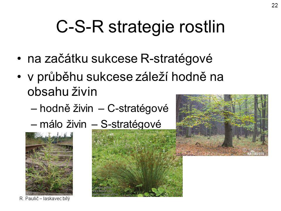 C-S-R strategie rostlin na začátku sukcese R-stratégové v průběhu sukcese záleží hodně na obsahu živin –hodně živin – C-stratégové –málo živin – S-stratégové R.