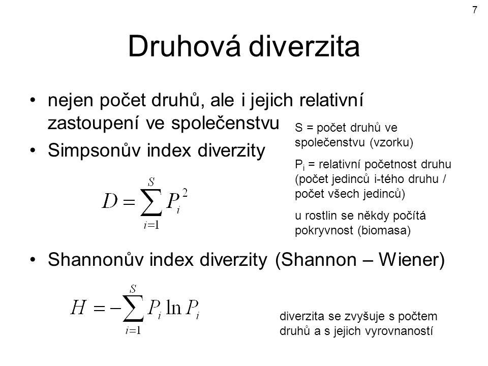 Druhová diverzita nejen počet druhů, ale i jejich relativní zastoupení ve společenstvu Simpsonův index diverzity Shannonův index diverzity (Shannon –