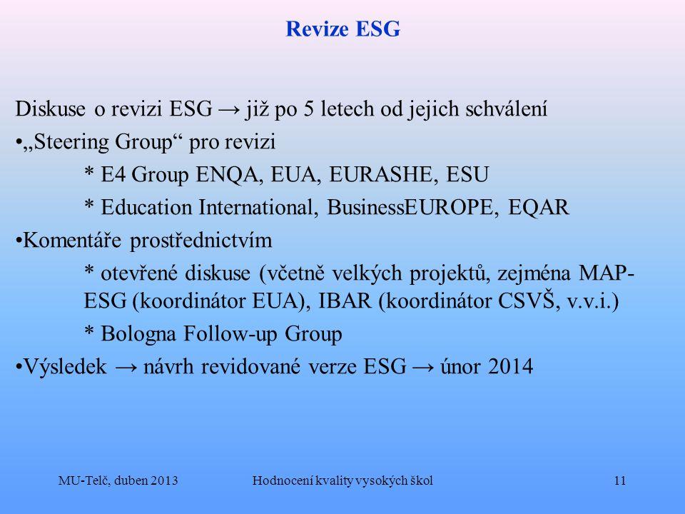 """Revize ESG Diskuse o revizi ESG → již po 5 letech od jejich schválení """"Steering Group pro revizi * E4 Group ENQA, EUA, EURASHE, ESU * Education International, BusinessEUROPE, EQAR Komentáře prostřednictvím * otevřené diskuse (včetně velkých projektů, zejména MAP- ESG (koordinátor EUA), IBAR (koordinátor CSVŠ, v.v.i.) * Bologna Follow-up Group Výsledek → návrh revidované verze ESG → únor 2014 MU-Telč, duben 2013Hodnocení kvality vysokých škol11"""
