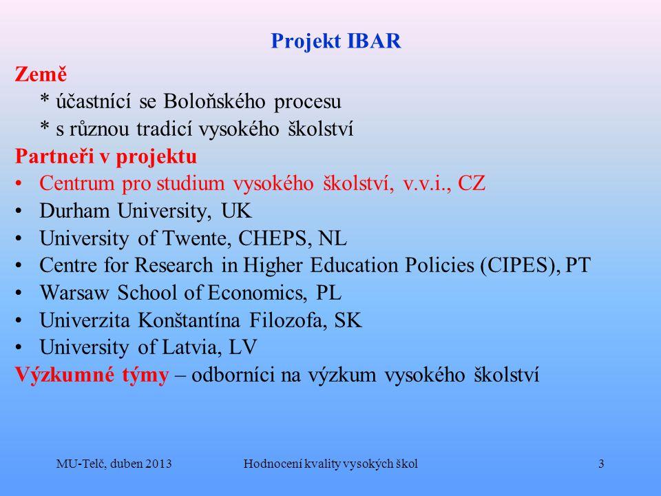 Projekt IBAR Země * účastnící se Boloňského procesu * s různou tradicí vysokého školství Partneři v projektu Centrum pro studium vysokého školství, v.v.i., CZ Durham University, UK University of Twente, CHEPS, NL Centre for Research in Higher Education Policies (CIPES), PT Warsaw School of Economics, PL Univerzita Konštantína Filozofa, SK University of Latvia, LV Výzkumné týmy – odborníci na výzkum vysokého školství MU-Telč, duben 2013Hodnocení kvality vysokých škol3