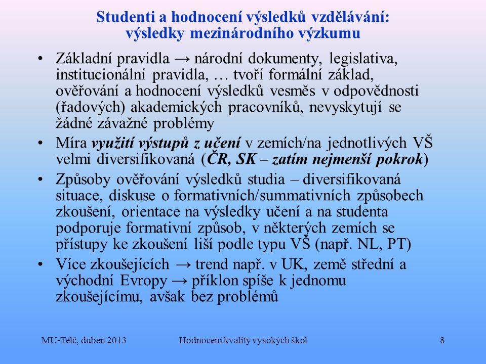 Studenti a hodnocení výsledků vzdělávání: výsledky mezinárodního výzkumu Základní pravidla → národní dokumenty, legislativa, institucionální pravidla, … tvoří formální základ, ověřování a hodnocení výsledků vesměs v odpovědnosti (řadových) akademických pracovníků, nevyskytují se žádné závažné problémy Míra využití výstupů z učení v zemích/na jednotlivých VŠ velmi diversifikovaná (ČR, SK – zatím nejmenší pokrok) Způsoby ověřování výsledků studia – diversifikovaná situace, diskuse o formativních/summativních způsobech zkoušení, orientace na výsledky učení a na studenta podporuje formativní způsob, v některých zemích se přístupy ke zkoušení liší podle typu VŠ (např.