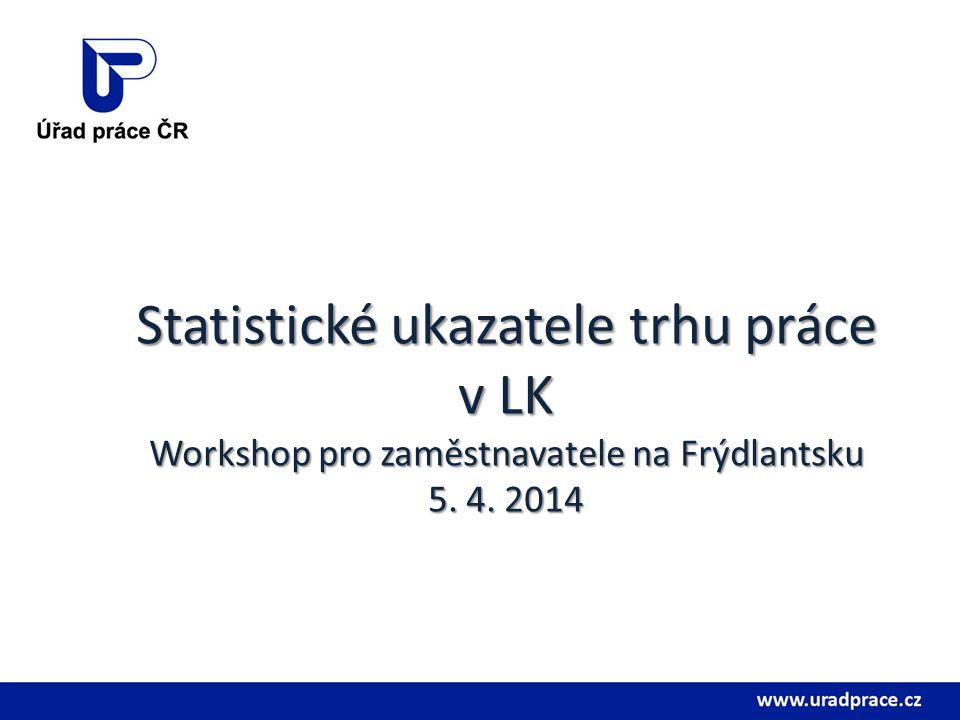 Statistickéukazateletrhupráce v LK Workshop pro zaměstnavatele na Frýdlantsku 5. 4. 2014 Statistické ukazatele trhu práce v LK Workshop pro zaměstnava