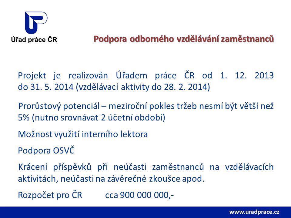 Podpora odborného vzdělávání zaměstnanců Projekt je realizován Úřadem práce ČR od 1. 12. 2013 do 31. 5. 2014 (vzdělávací aktivity do 28. 2. 2014) Pror