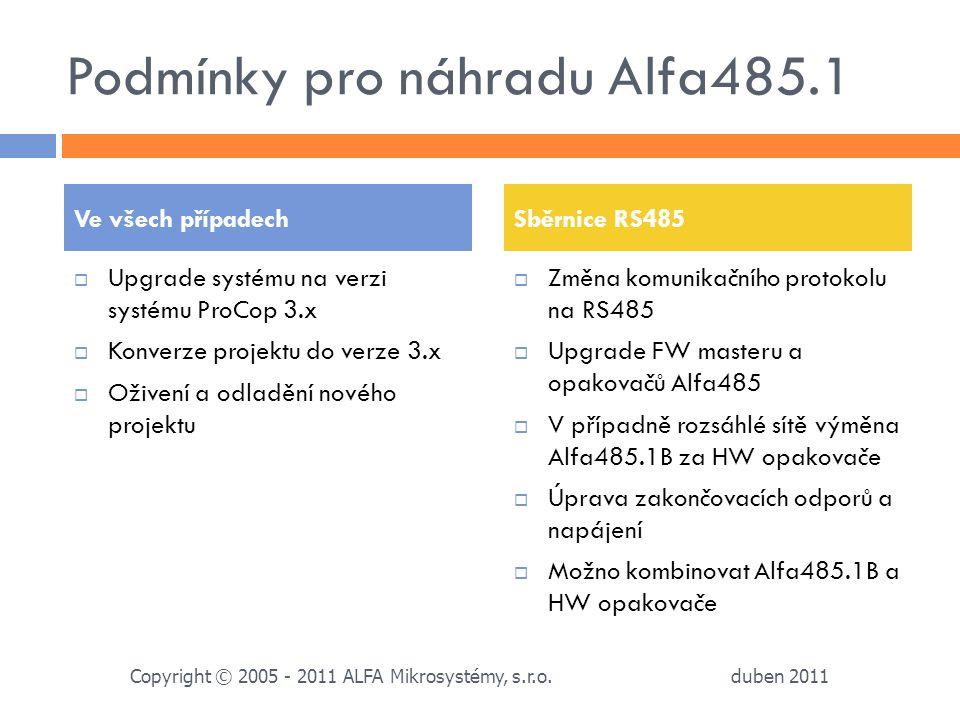 Podmínky pro náhradu Alfa485.1  Upgrade systému na verzi systému ProCop 3.x  Konverze projektu do verze 3.x  Oživení a odladění nového projektu  Z