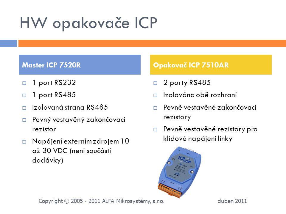 HW opakovače ICP  1 port RS232  1 port RS485  Izolovaná strana RS485  Pevný vestavěný zakončovací rezistor  Napájení externím zdrojem 10 až 30 VD