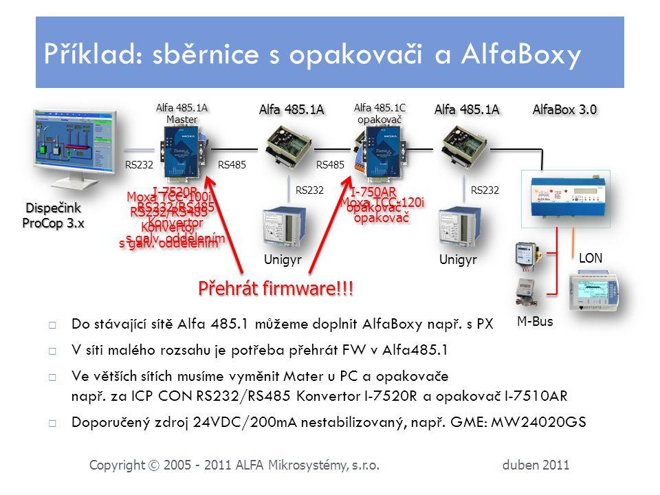 duben 2011 Copyright © 2005 - 2011 ALFA Mikrosystémy, s.r.o.  Do stávající sítě Alfa 485.1 můžeme doplnit AlfaBoxy např. s PX  V síti malého rozsahu