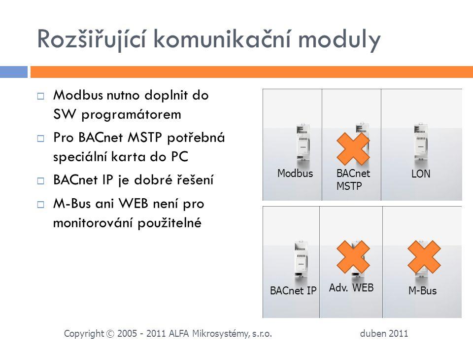 Rozšiřující komunikační moduly  Modbus nutno doplnit do SW programátorem  Pro BACnet MSTP potřebná speciální karta do PC  BACnet IP je dobré řešení