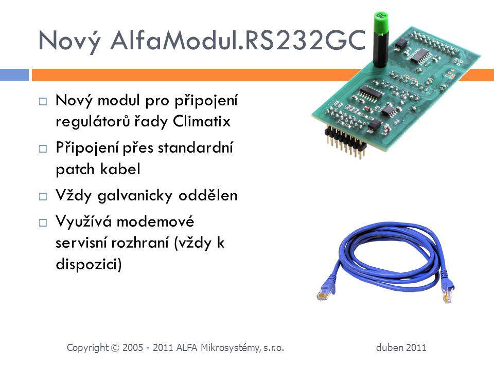 Nový AlfaModul.RS232GC  Nový modul pro připojení regulátorů řady Climatix  Připojení přes standardní patch kabel  Vždy galvanicky oddělen  Využívá