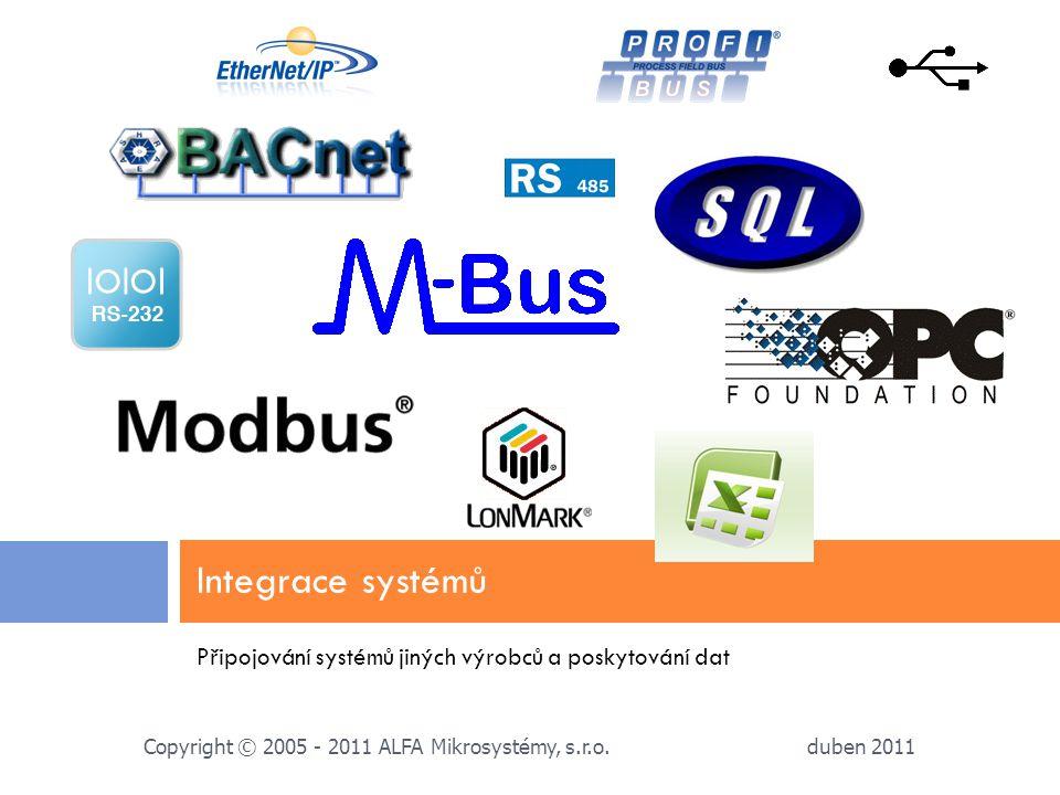 Připojování systémů jiných výrobců a poskytování dat Integrace systémů duben 2011 Copyright © 2005 - 2011 ALFA Mikrosystémy, s.r.o.