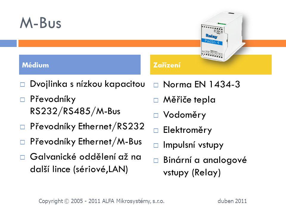 M-Bus  Dvojlinka s nízkou kapacitou  Převodníky RS232/RS485/M-Bus  Převodníky Ethernet/RS232  Převodníky Ethernet/M-Bus  Galvanické oddělení až n