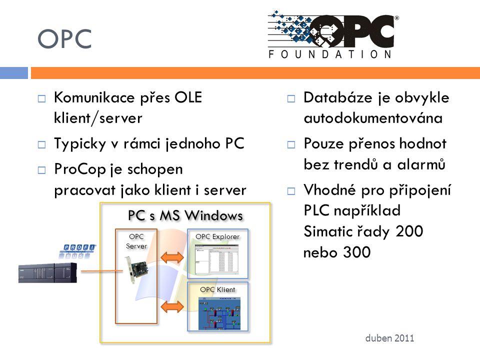 OPC  Komunikace přes OLE klient/server  Typicky v rámci jednoho PC  ProCop je schopen pracovat jako klient i server  Databáze je obvykle autodokum