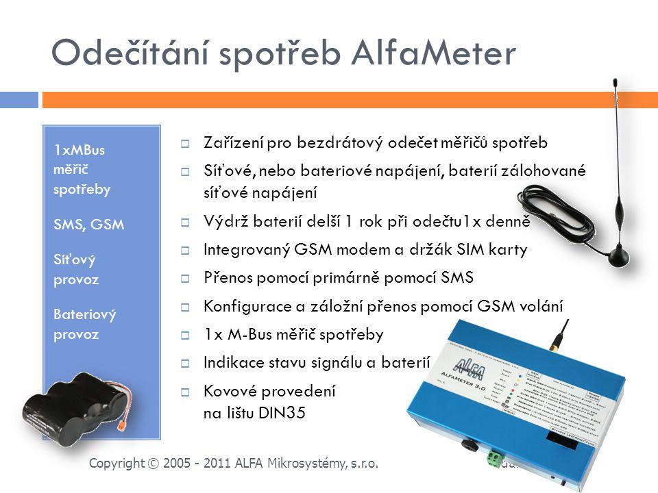 Odečítání spotřeb AlfaMeter 1xMBus měřič spotřeby SMS, GSM Síťový provoz Bateriový provoz  Zařízení pro bezdrátový odečet měřičů spotřeb  Síťové, ne