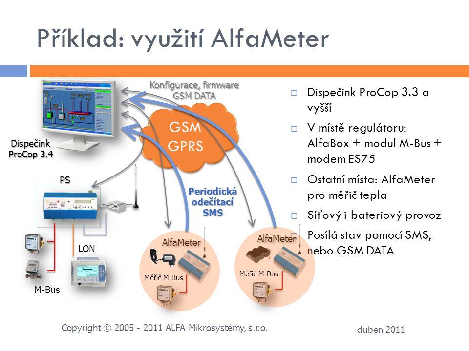 Příklad: využití AlfaMeter  Dispečink ProCop 3.3 a vyšší  V místě regulátoru: AlfaBox + modul M-Bus + modem ES75  Ostatní místa: AlfaMeter pro měři