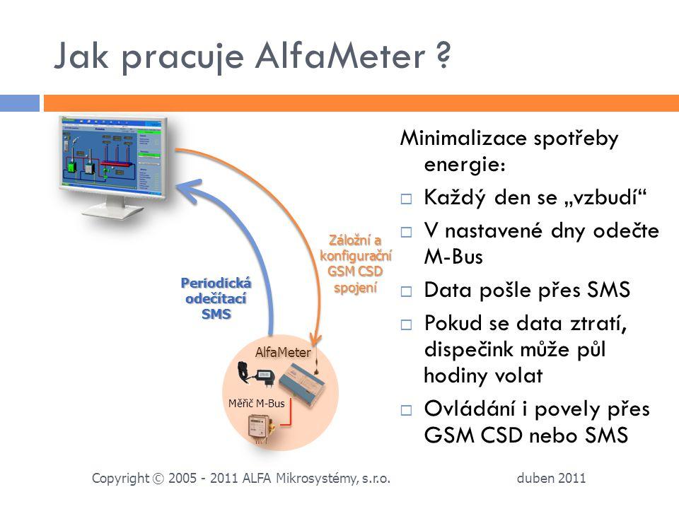 """Jak pracuje AlfaMeter ? duben 2011 Copyright © 2005 - 2011 ALFA Mikrosystémy, s.r.o. Minimalizace spotřeby energie:  Každý den se """"vzbudí""""  V nastav"""