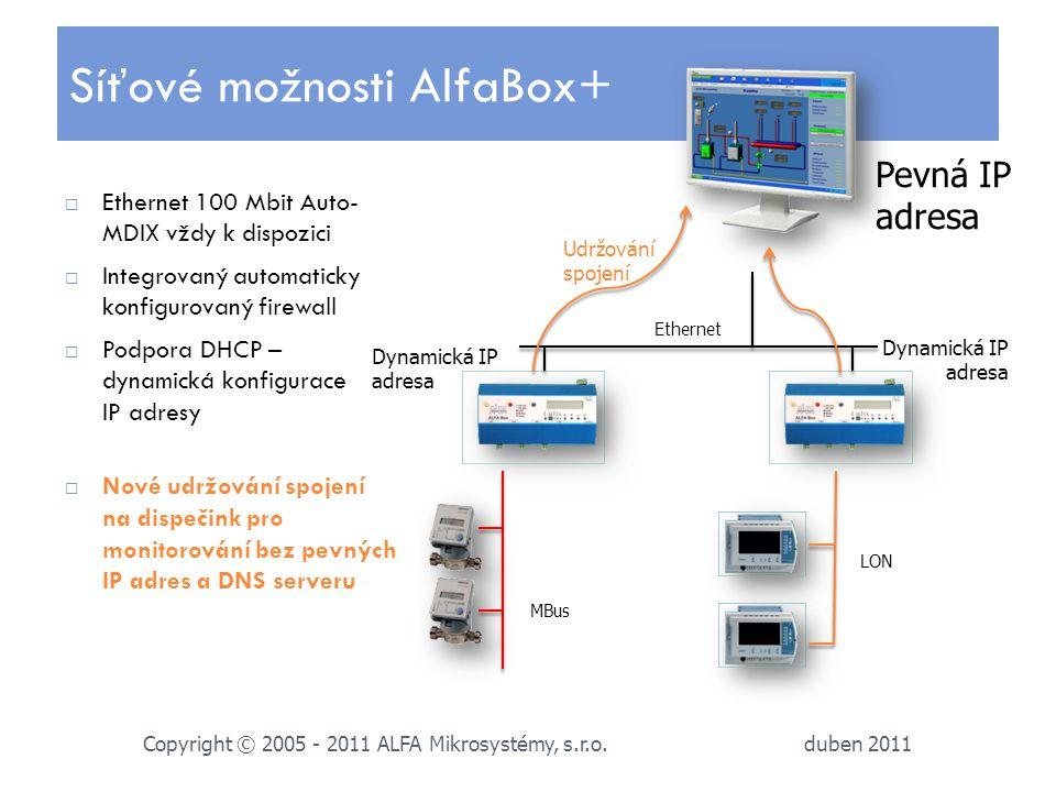 duben 2011 Copyright © 2005 - 2011 ALFA Mikrosystémy, s.r.o.  Ethernet 100 Mbit Auto- MDIX vždy k dispozici  Integrovaný automaticky konfigurovaný f