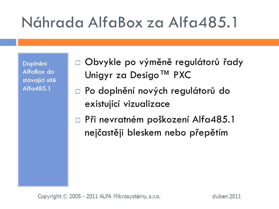 Náhrada AlfaBox za Alfa485.1 Doplnění AlfaBox do stávající sítě Alfa485.1  Obvykle po výměně regulátorů řady Unigyr za Desigo™ PXC  Po doplnění nový