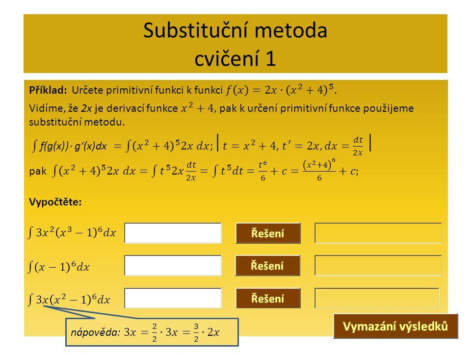 Substituční metoda cvičení 1
