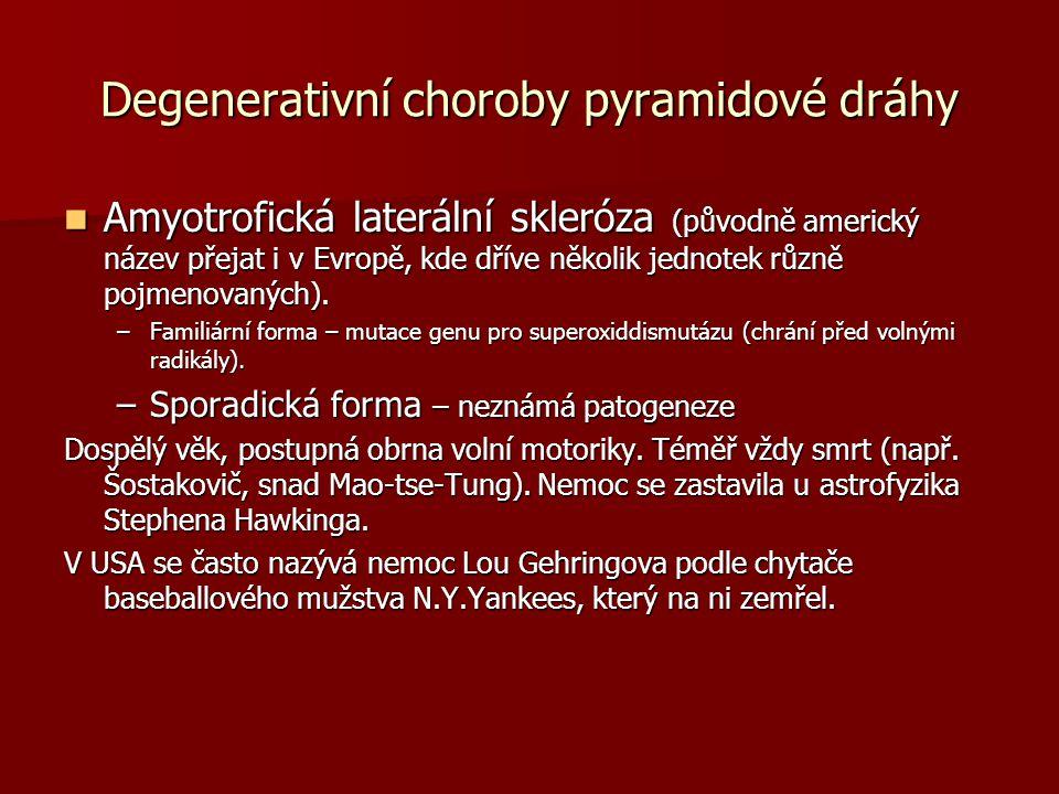 Degenerativní choroby pyramidové dráhy Amyotrofická laterální skleróza (původně americký název přejat i v Evropě, kde dříve několik jednotek různě pojmenovaných).