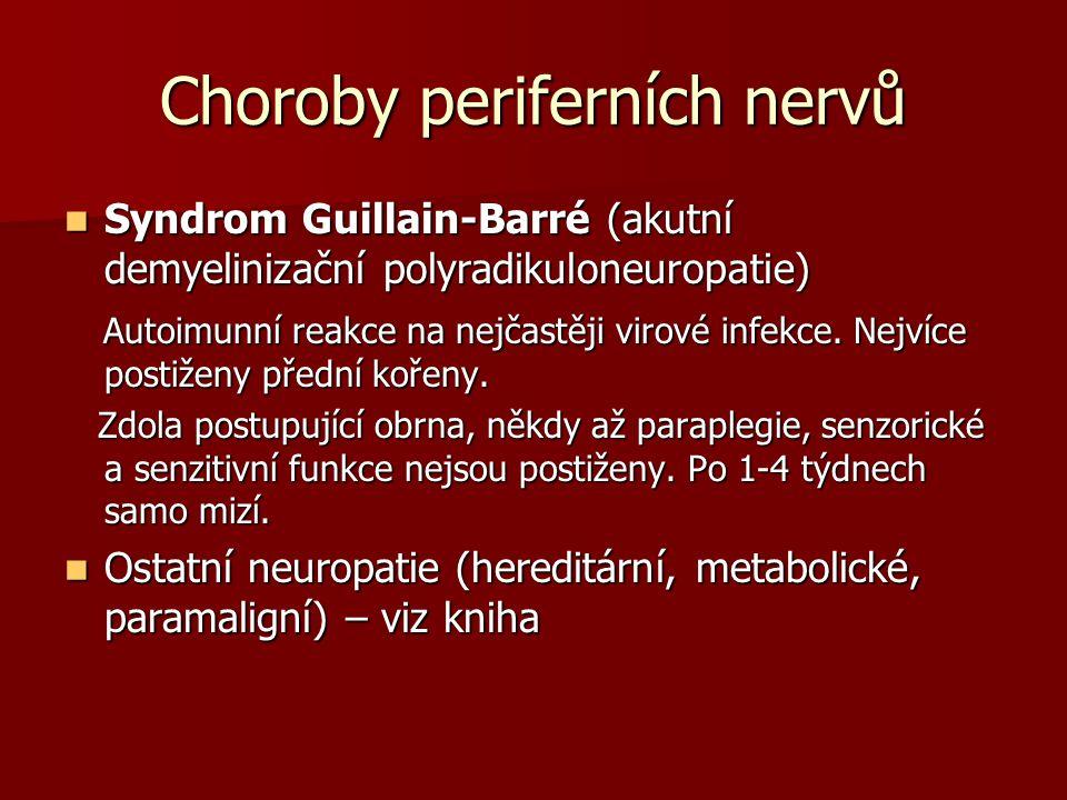 Choroby periferních nervů Syndrom Guillain-Barré (akutní demyelinizační polyradikuloneuropatie) Syndrom Guillain-Barré (akutní demyelinizační polyradikuloneuropatie) Autoimunní reakce na nejčastěji virové infekce.