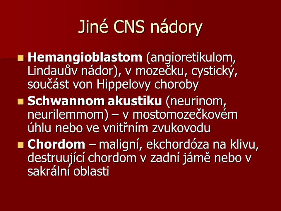 Jiné CNS nádory Hemangioblastom (angioretikulom, Lindauův nádor), v mozečku, cystický, součást von Hippelovy choroby Hemangioblastom (angioretikulom, Lindauův nádor), v mozečku, cystický, součást von Hippelovy choroby Schwannom akustiku (neurinom, neurilemmom) – v mostomozečkovém úhlu nebo ve vnitřním zvukovodu Schwannom akustiku (neurinom, neurilemmom) – v mostomozečkovém úhlu nebo ve vnitřním zvukovodu Chordom – maligní, ekchordóza na klivu, destruující chordom v zadní jámě nebo v sakrální oblasti Chordom – maligní, ekchordóza na klivu, destruující chordom v zadní jámě nebo v sakrální oblasti