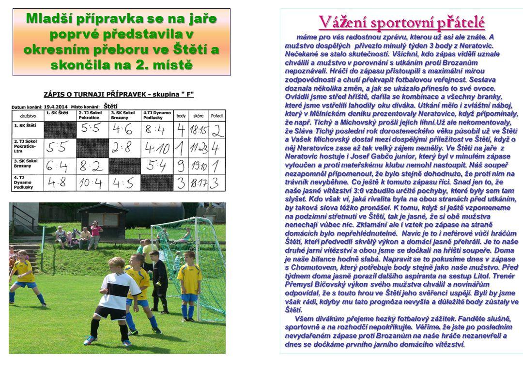 19.4.2014 SK Štětí Sokol Brozany0:4 27.4.2014 NeratoviceSK Štětí0:3 A mužstvo.