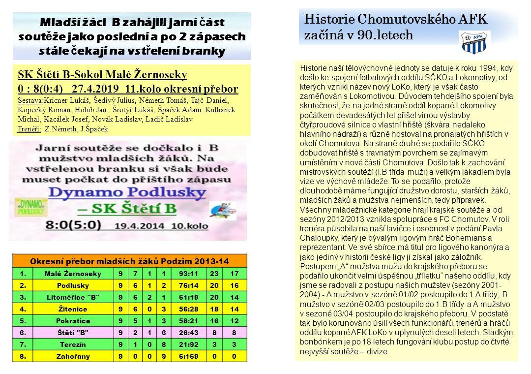 Historie Chomutovského AFK začíná v 90.letech Historie naší tělovýchovné jednoty se datuje k roku 1994, kdy došlo ke spojení fotbalových oddílů SČKO a