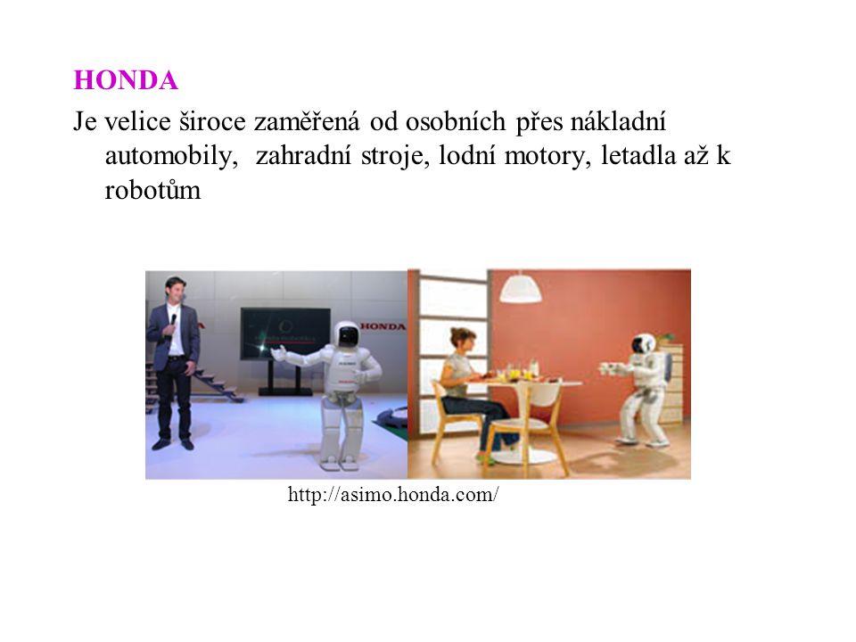 HONDA Je velice široce zaměřená od osobních přes nákladní automobily, zahradní stroje, lodní motory, letadla až k robotům http://asimo.honda.com/
