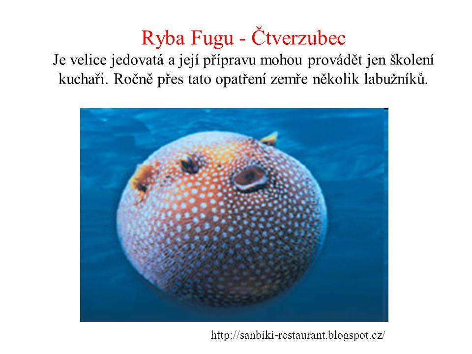 Ryba Fugu - Čtverzubec Je velice jedovatá a její přípravu mohou provádět jen školení kuchaři. Ročně přes tato opatření zemře několik labužníků. http:/