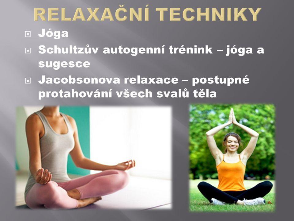  Jóga  Schultzův autogenní trénink – jóga a sugesce  Jacobsonova relaxace – postupné protahování všech svalů těla