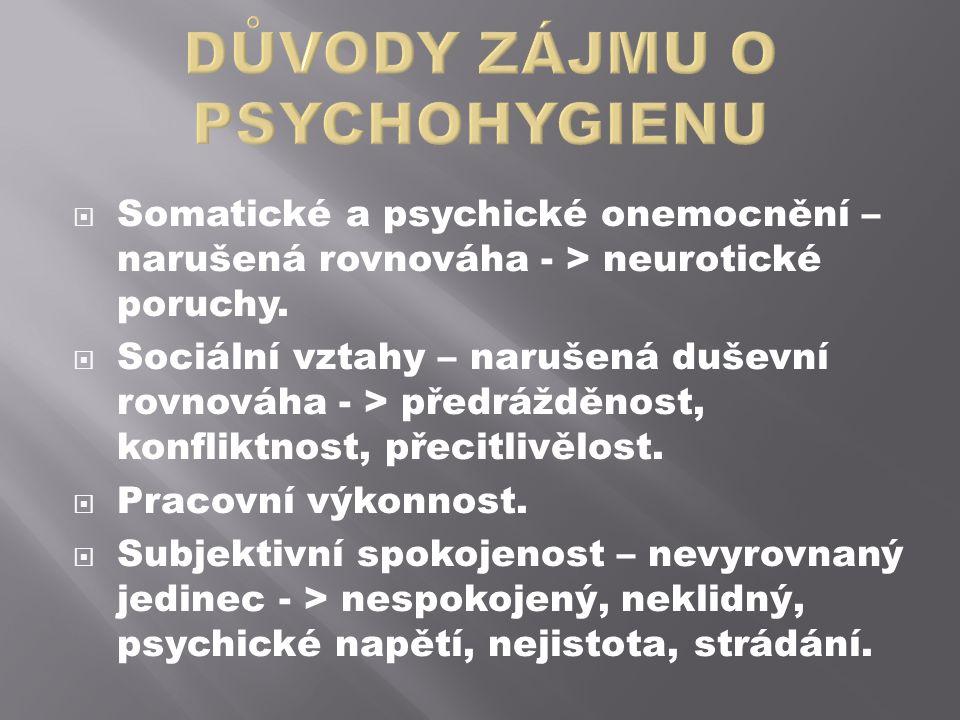 Somatické a psychické onemocnění – narušená rovnováha - > neurotické poruchy.  Sociální vztahy – narušená duševní rovnováha - > předrážděnost, konf