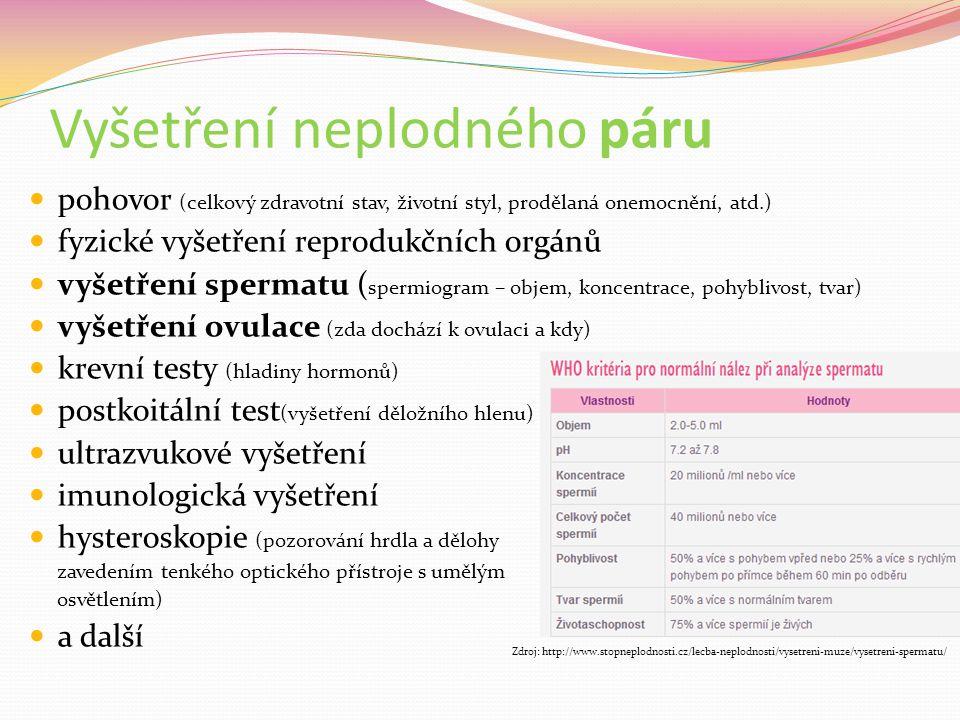 Vyšetření neplodného páru pohovor (celkový zdravotní stav, životní styl, prodělaná onemocnění, atd.) fyzické vyšetření reprodukčních orgánů vyšetření