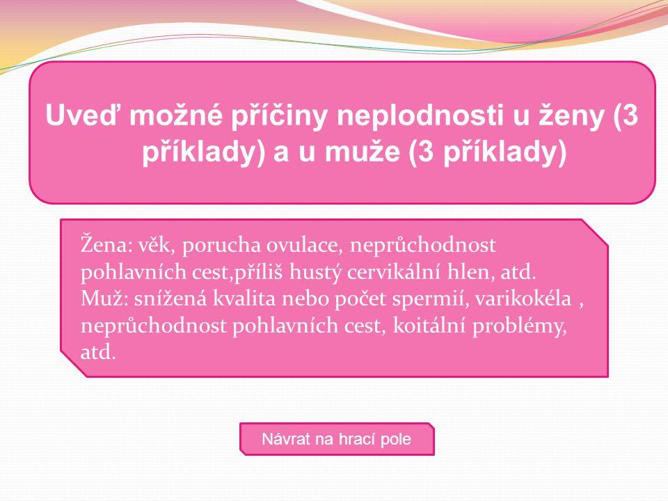 Žena: věk, porucha ovulace, neprůchodnost pohlavních cest,příliš hustý cervikální hlen, atd. Muž: snížená kvalita nebo počet spermií, varikokéla, nepr