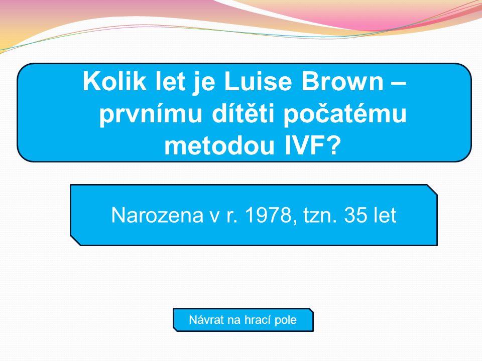 Narozena v r. 1978, tzn. 35 let Návrat na hrací pole Kolik let je Luise Brown – prvnímu dítěti počatému metodou IVF?