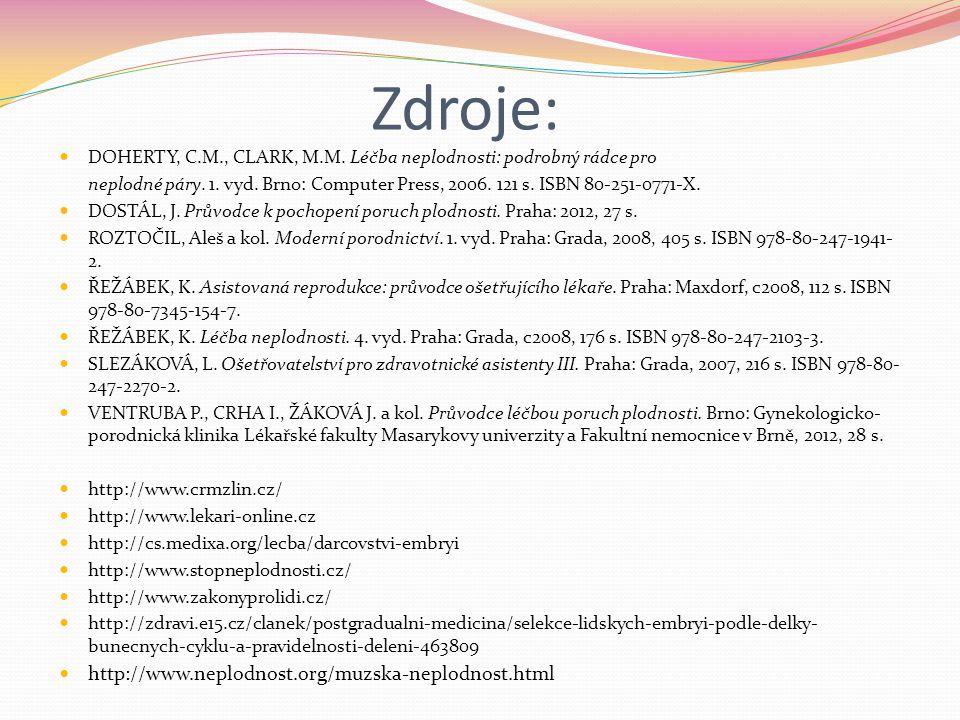 Zdroje: DOHERTY, C.M., CLARK, M.M. Léčba neplodnosti: podrobný rádce pro neplodné páry. 1. vyd. Brno: Computer Press, 2006. 121 s. ISBN 80-251-0771-X.