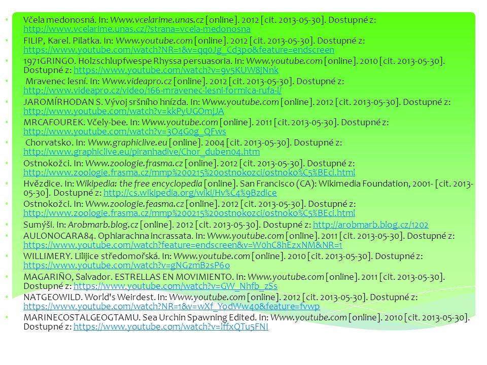 Včela medonosná. In: Www.vcelarime.unas.cz [online]. 2012 [cit. 2013-05-30]. Dostupné z: http://www.vcelarime.unas.cz/?strana=vcela-medonosna http://w