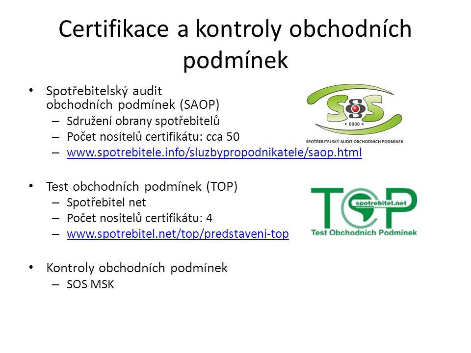 Certifikace a kontroly obchodních podmínek Spotřebitelský audit obchodních podmínek (SAOP) – Sdružení obrany spotřebitelů – Počet nositelů certifikátu
