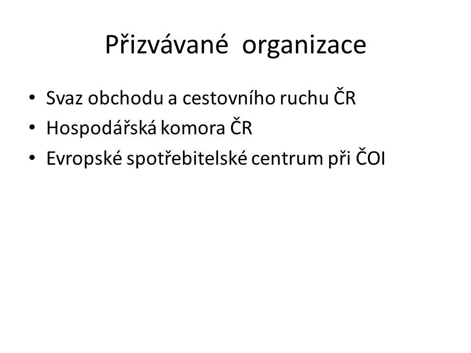 Přizvávané organizace Svaz obchodu a cestovního ruchu ČR Hospodářská komora ČR Evropské spotřebitelské centrum při ČOI
