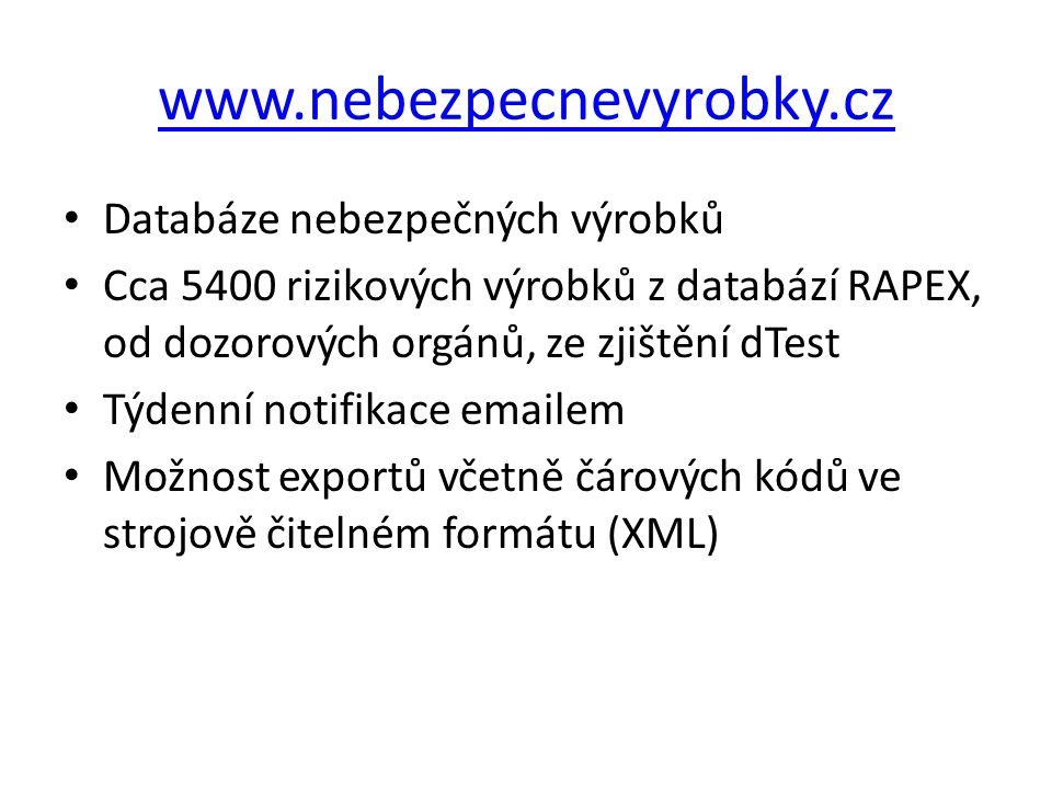 www.nebezpecnevyrobky.cz Databáze nebezpečných výrobků Cca 5400 rizikových výrobků z databází RAPEX, od dozorových orgánů, ze zjištění dTest Týdenní n