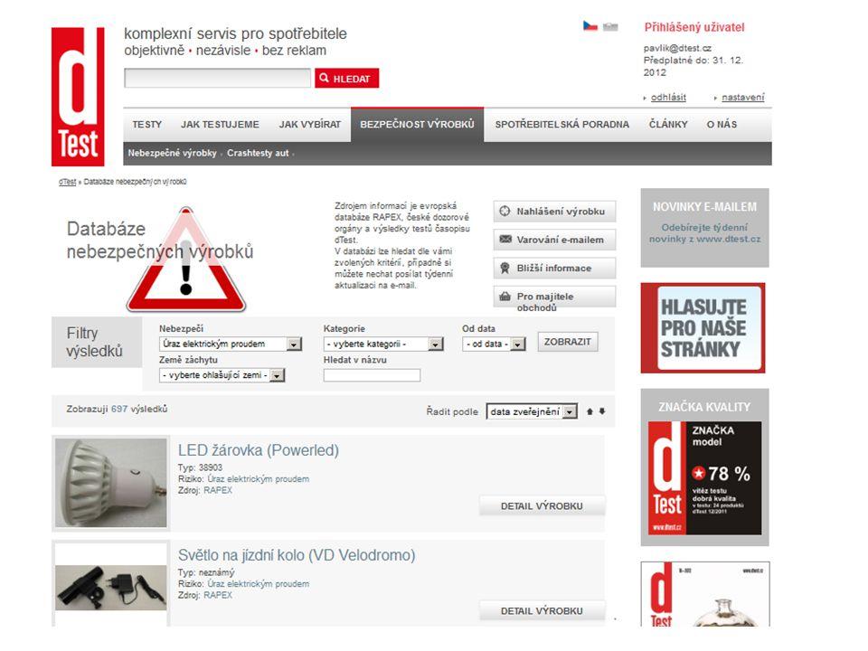 Značka kvality dTest Spravuje Občanské sdružení spotřebitelů TEST Pro výrobky dobře hodnocené v nezávislém srovnávacím testu Možnost užívat značku při propagaci a prodeji výrobku Cca 250 udělených licencí www.dtest.cz/znacka-kvality