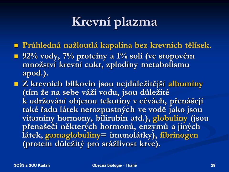 SOŠS a SOU Kadaň 28Obecná biologie - Tkáně Trofické tkáně - krev Krev Krev Krevní plazma Krevní plazma Krevní buňky Krevní buňky Erytrocyty Erytrocyty Leukocyty Leukocyty Granulocyty Granulocyty Agranulocyty Agranulocyty Trombocyty Trombocyty Erytrocyty savců jsou bezjaderné