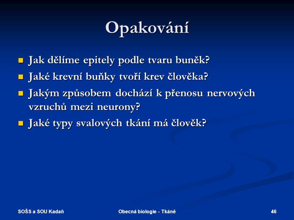 SOŠS a SOU Kadaň 45Obecná biologie - Tkáně Vyhodnocení 1.b 2.a 3.d 4.c 5.e