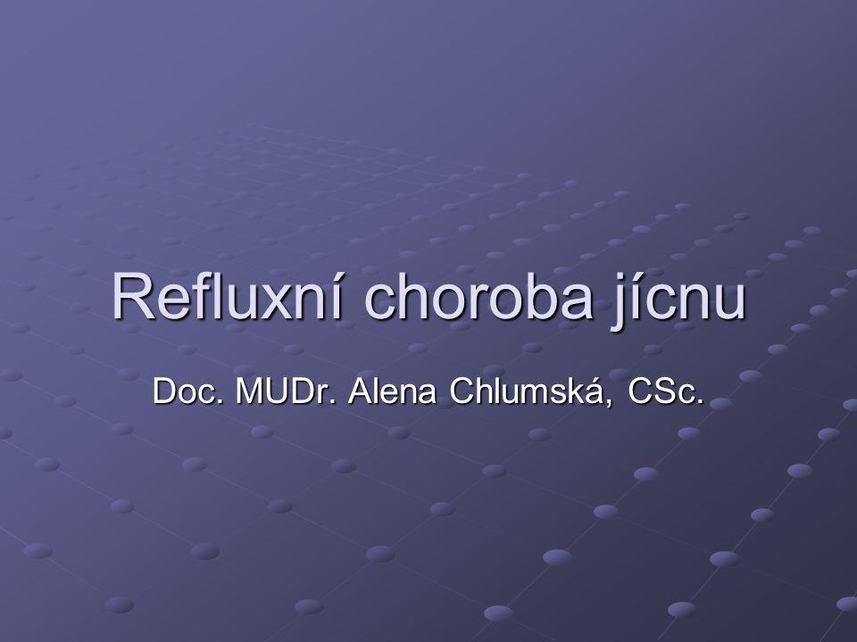Refluxní choroba jícnu Doc. MUDr. Alena Chlumská, CSc.