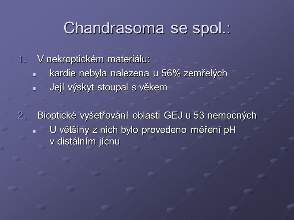 Chandrasoma se spol.: 1.V nekroptickém materiálu: kardie nebyla nalezena u 56% zemřelých kardie nebyla nalezena u 56% zemřelých Její výskyt stoupal s