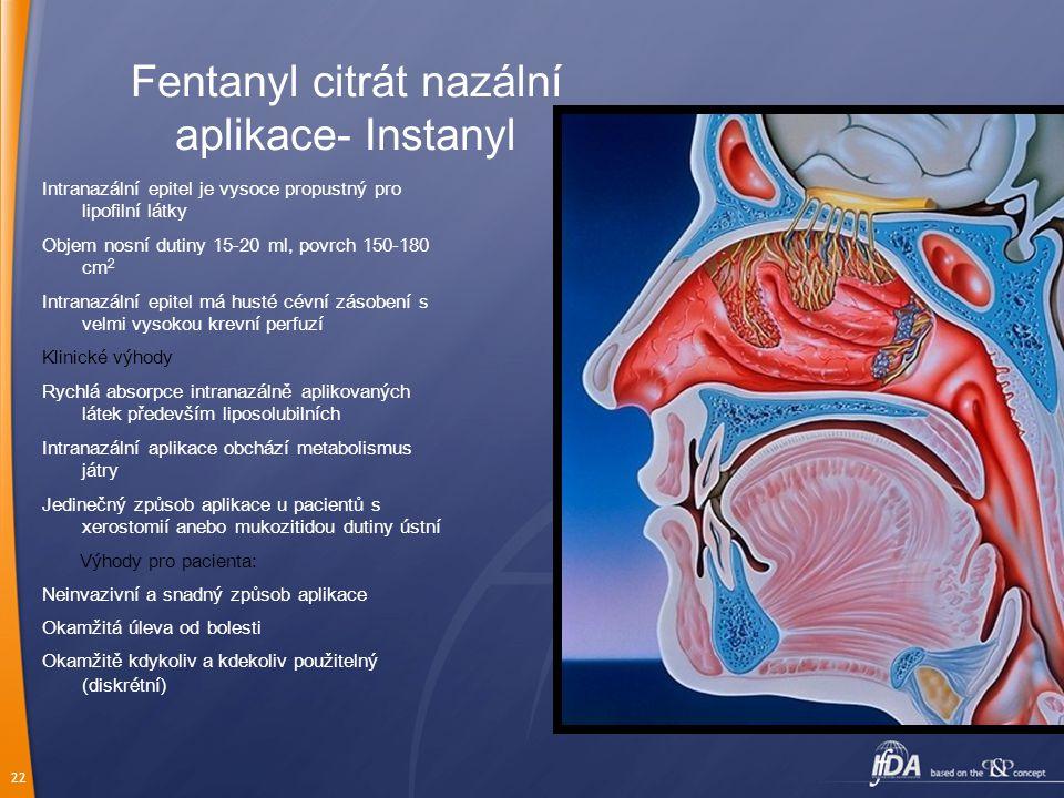 22 Fentanyl citrát nazální aplikace- Instanyl Intranazální epitel je vysoce propustný pro lipofilní látky Objem nosní dutiny 15-20 ml, povrch 150-180