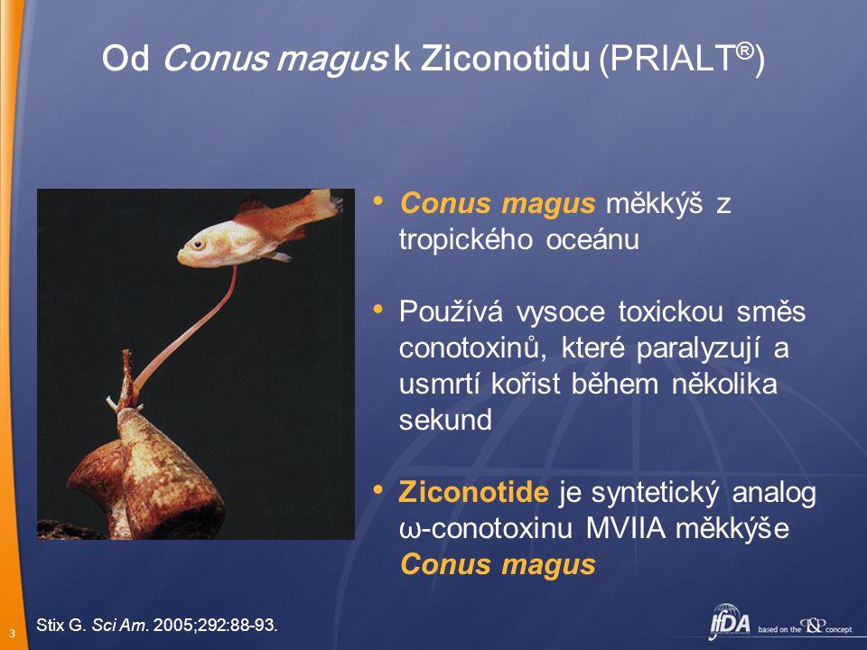 3 Od Conus magus k Ziconotidu (PRIALT ® ) Stix G. Sci Am. 2005;292:88-93. Conus magus měkkýš z tropického oceánu Používá vysoce toxickou směs conotoxi