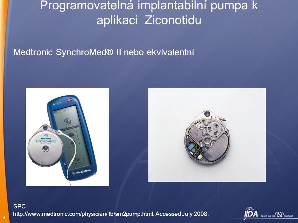 4 Programovatelná implantabilní pumpa k aplikaci Ziconotidu Medtronic SynchroMed® II nebo ekvivalentní http://www.medtronic.com/physician/itb/sm2pump.